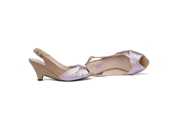 Cat Beige Color Leather Made Heel Shoes 4