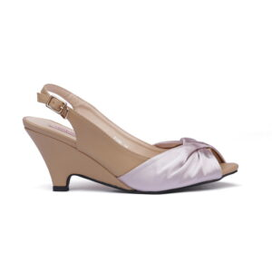 Cat Beige Color Leather Made Heel Shoes 3