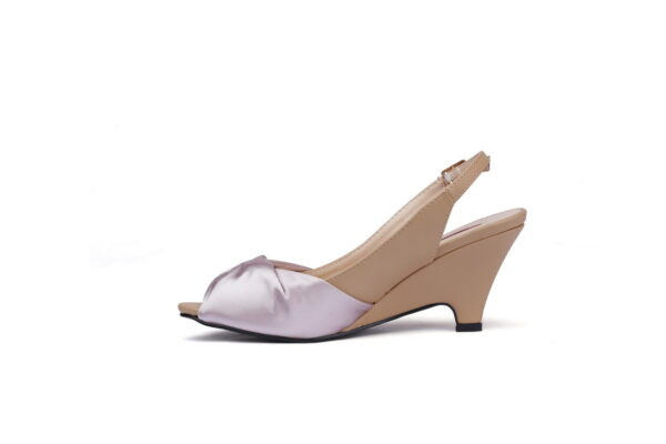Cat Beige Color Leather Made Heel Shoes